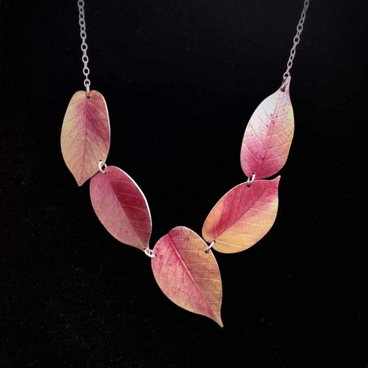 Asymmetric Pink Cherry leaf necklace