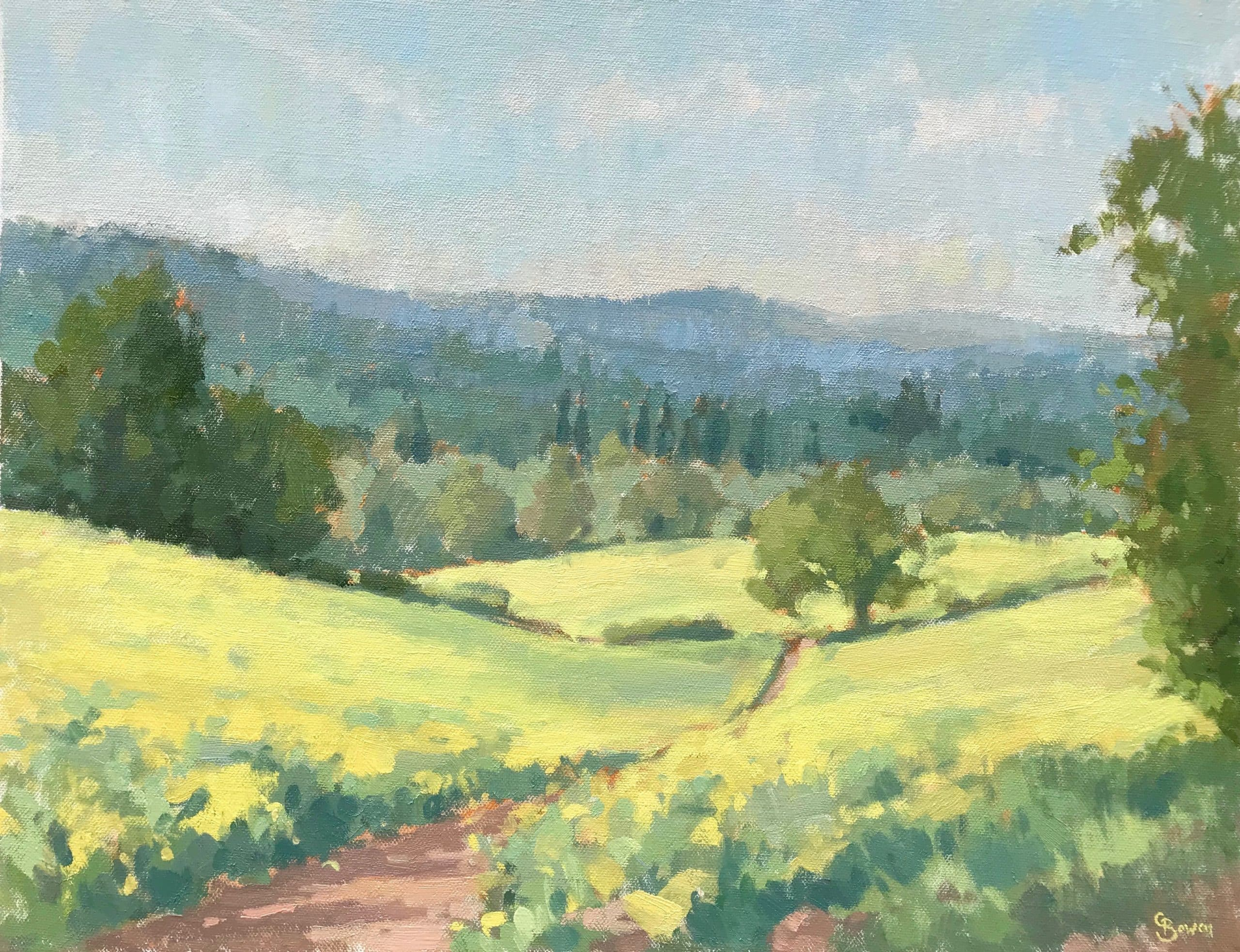 """'Surrey Hills' oil on canvas 12x16"""" by Clare Bowen"""
