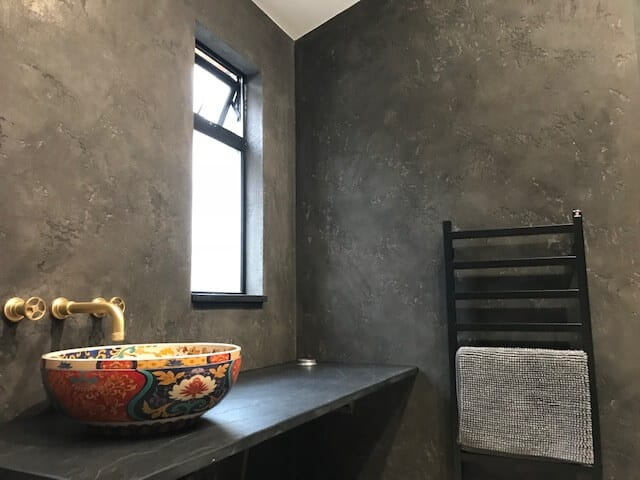 Residential Polished Plastering London - Textured Bathroom Wall